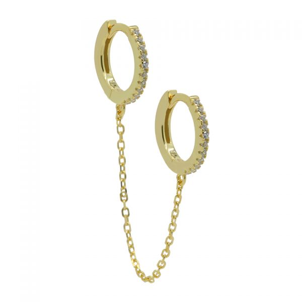 Plain Hinged Hoops Double in Chains 12MM (1piece)
