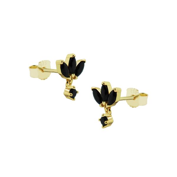 Karma Zirconia Symbols Triple Flower Oval Black