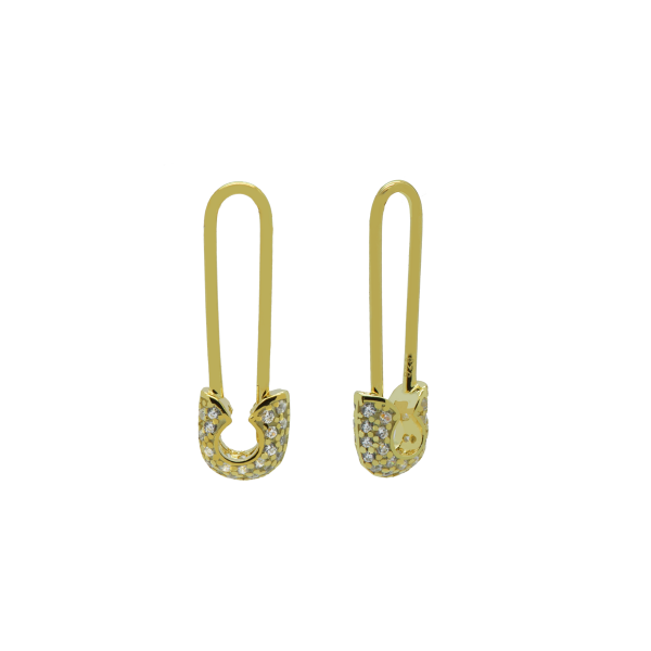 Hinged Hoops Zirconia Safety Pin 2 Goldplated